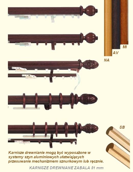 Zabala karnisze drewniane